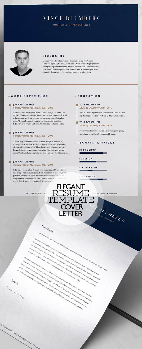 Elegant Resume Template and Cover Letter