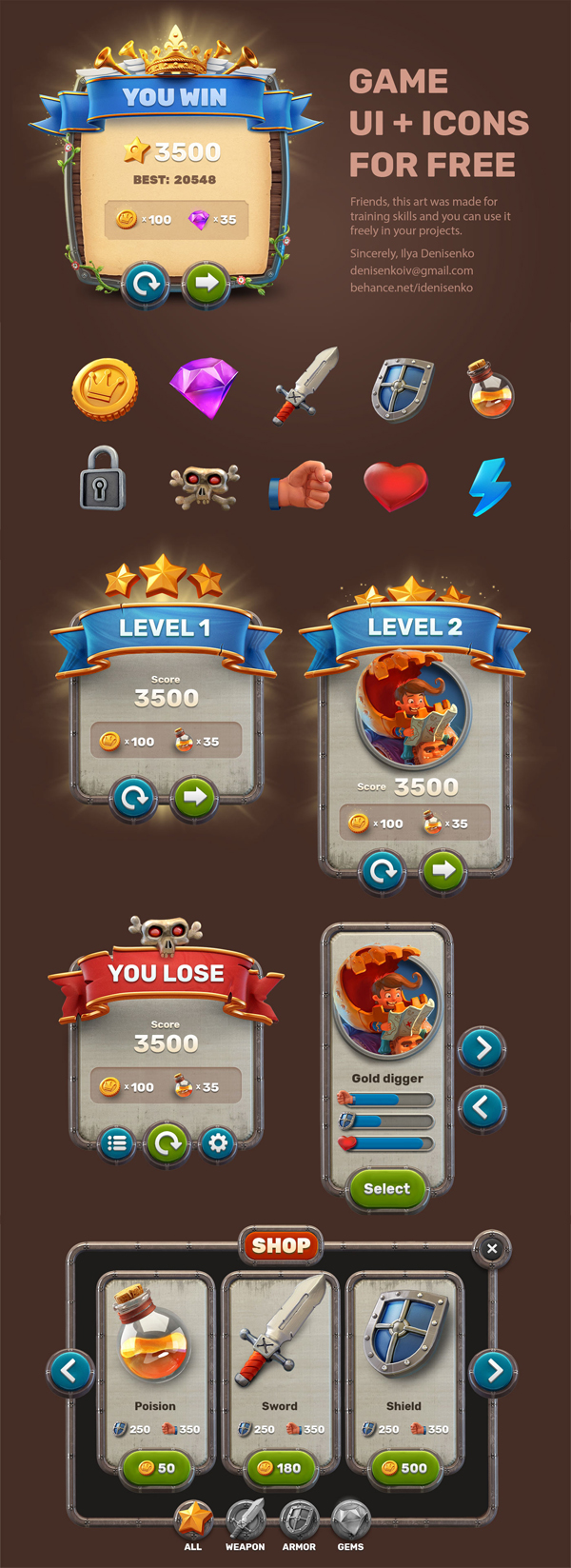 Free Game UI and PSD Icons