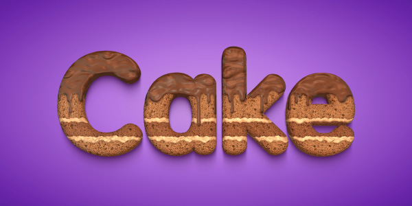 3D Text with Chocolate Cake Effect