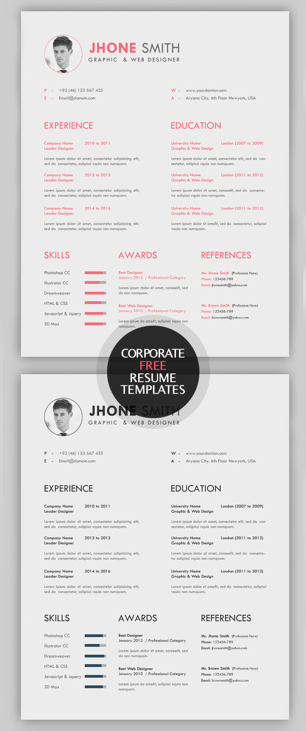 23 free creative resume templates with cover letter freebies graphic design junction - Creative Resumes Templates Free