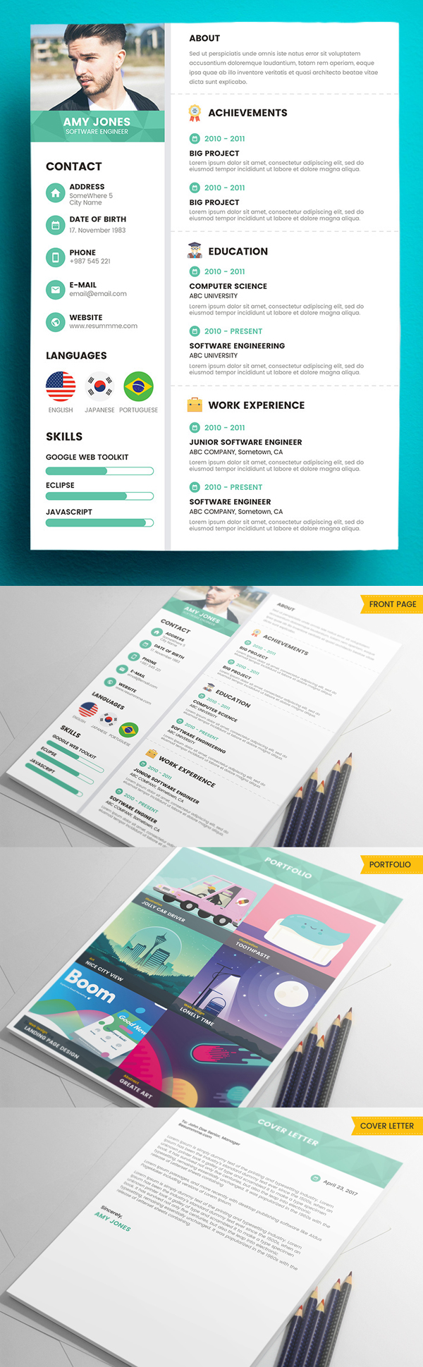 Free Creative Resume Templates With Cover Letter  Mixed Sign