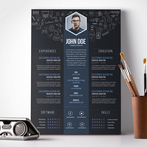 Creative Professional Resume Template Free Psd  Idea