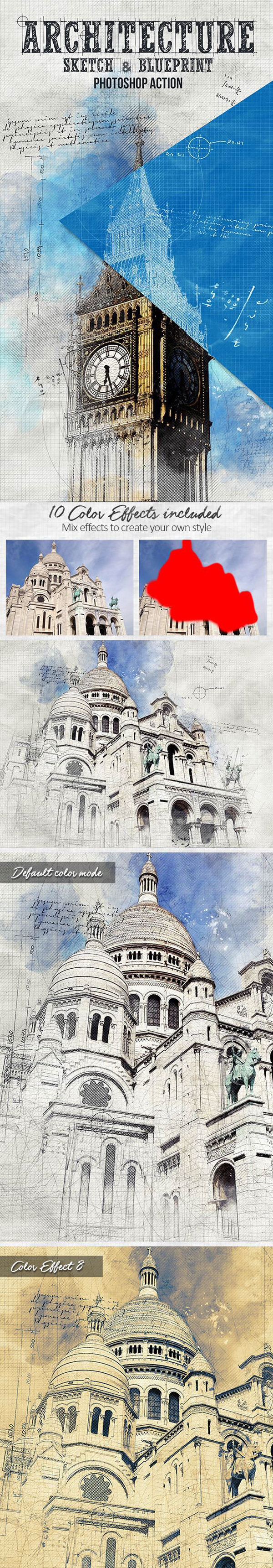 Architecture Sketch and Blueprint Photoshop Action