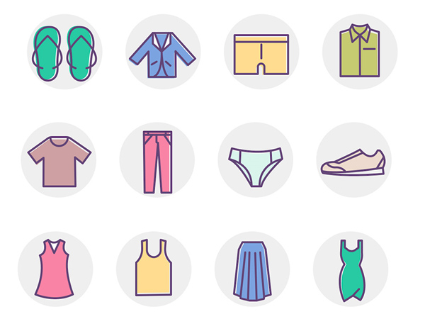 Free Simple Clothing Color Icons Set (12 Icons)