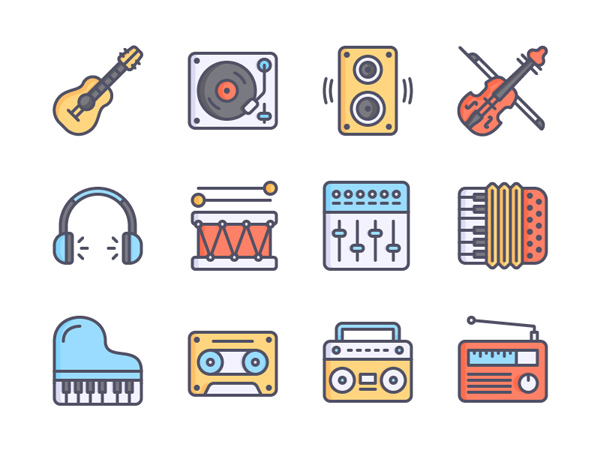 Free Music Icons Color Set (12 Icons)