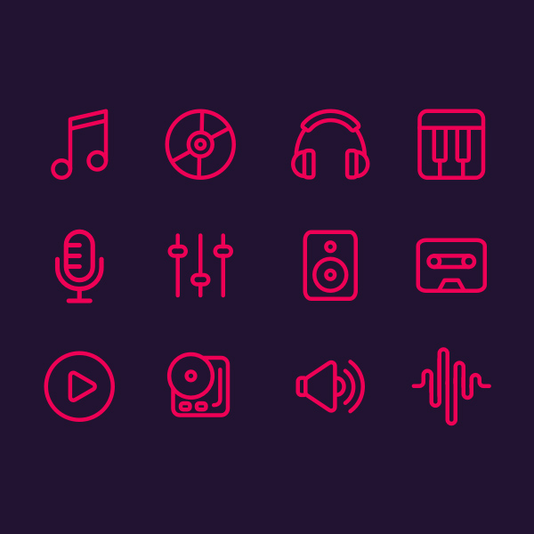 Free Outline Music Icons