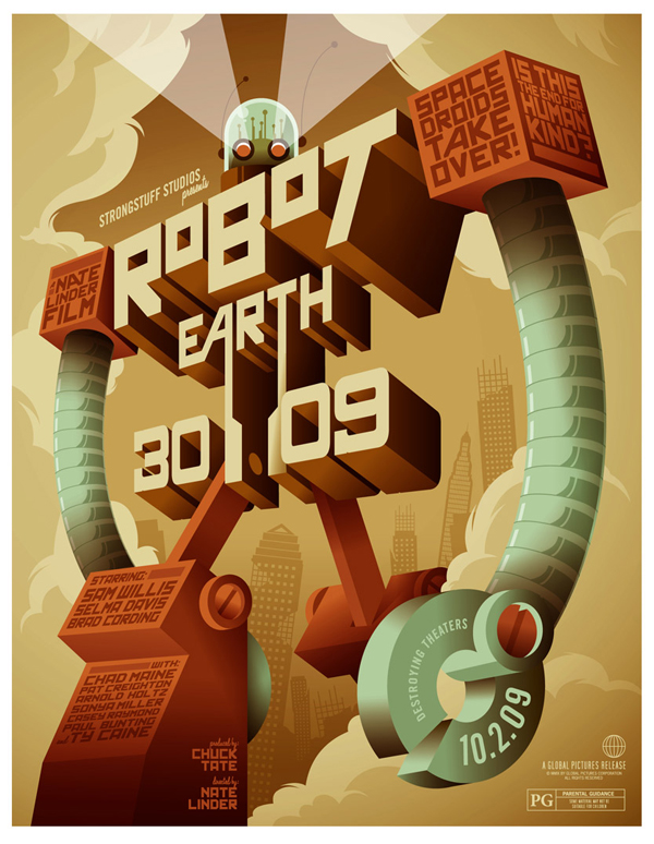 How to Making of Robot Earth 3009 Typographic Illustration