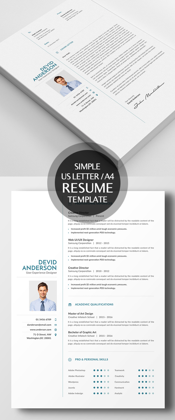 New Simple Clean Cv Resume Templates Design Graphic