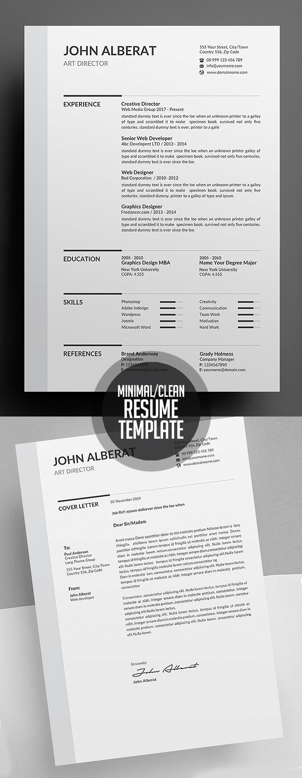 new simple  clean cv    resume templates