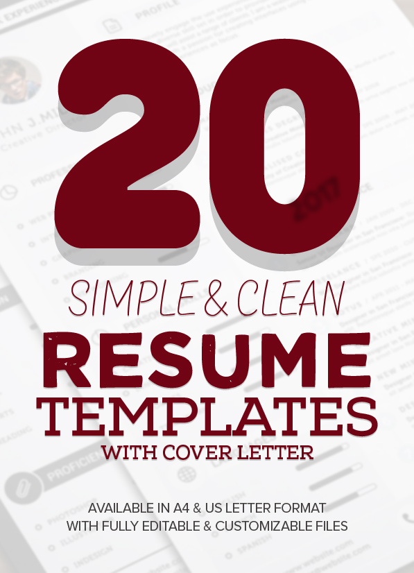 20 New Simple, Clean CV / Resume Templates with Cover Letter