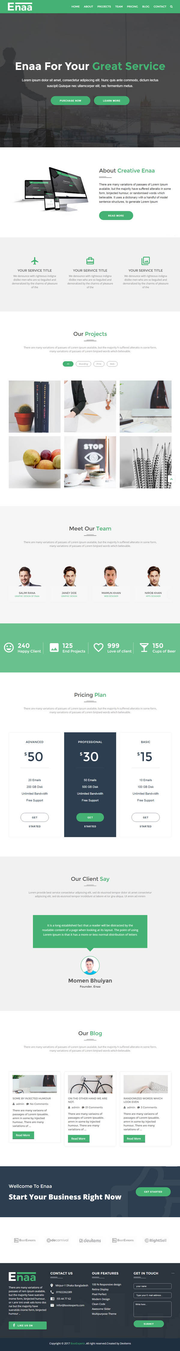 Enaa : One Page Corporate WordPress Theme