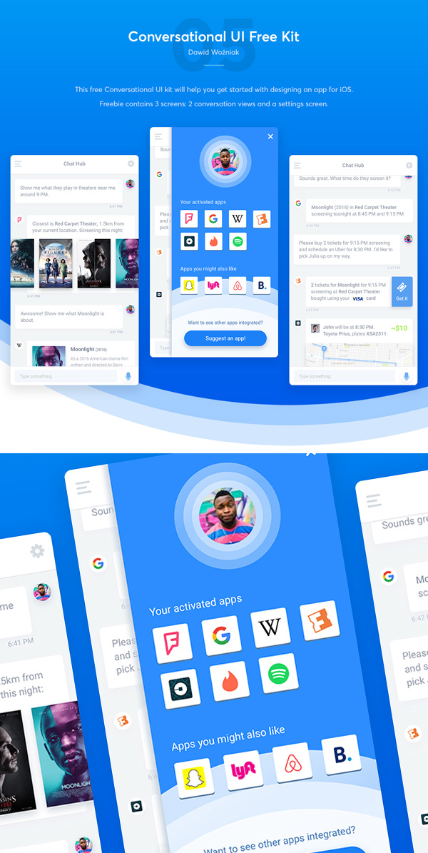 Free Conversational Mobile App UI Kit