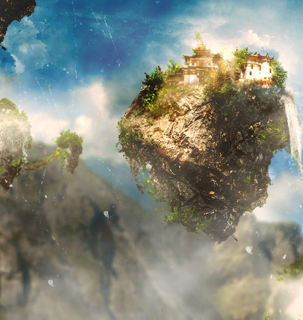 How to Create Beautiful Alien Landscape with Floating Rocks in Photoshop