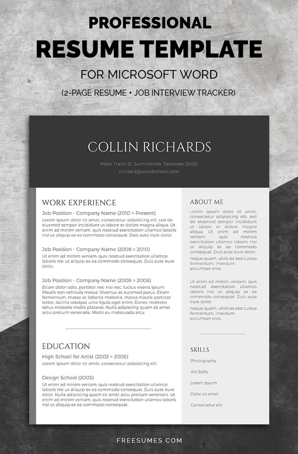 Professional Resume Template Set | Plain But Trendy