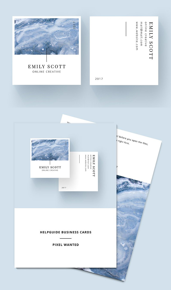 Square Marble Blue Business Cards