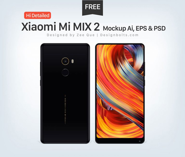 Free Hi-Detailed Xiaomi Mi MIX 2 Mockup