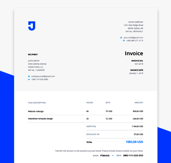 Free Invoice Template for Design Services