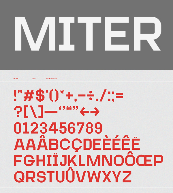 Miter Font Letters and Numbers