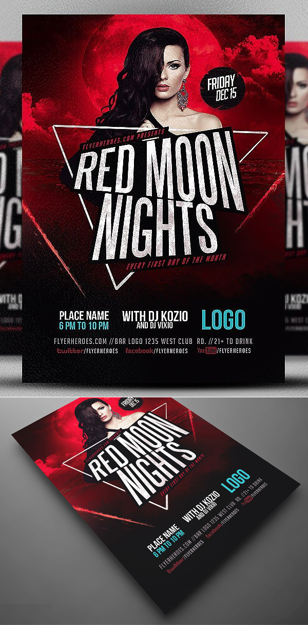 Red Moon Nights Flyer Template