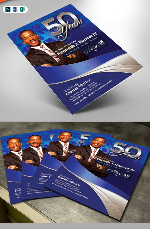 Sapphire Blue Pastor's Anniversary flyer