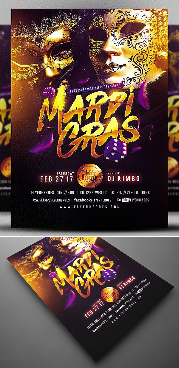 Gold Mask Mardi Gras Flyer Template