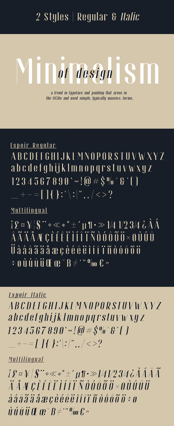 Espoir Free Font Letters and Numbers