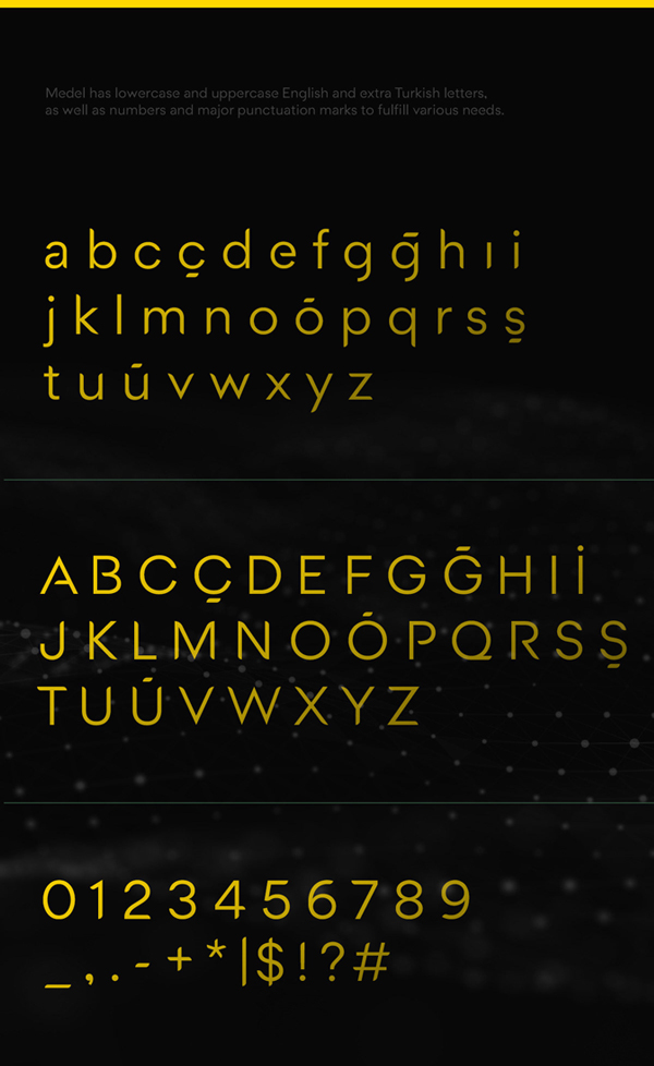 Medel Free Font Letters and Numbers