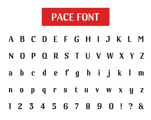 Pace Free Font Letters and Numbers