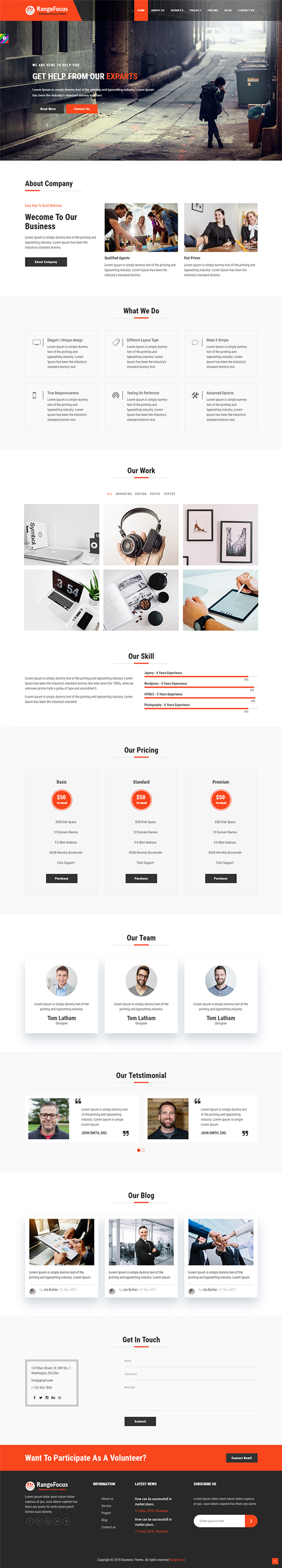 RangeFocus - One Page Corporate and Business Template