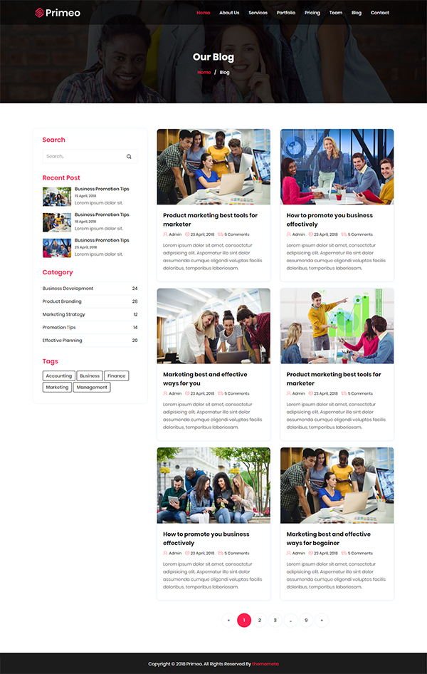 Primeo - One Page Business HTML Template