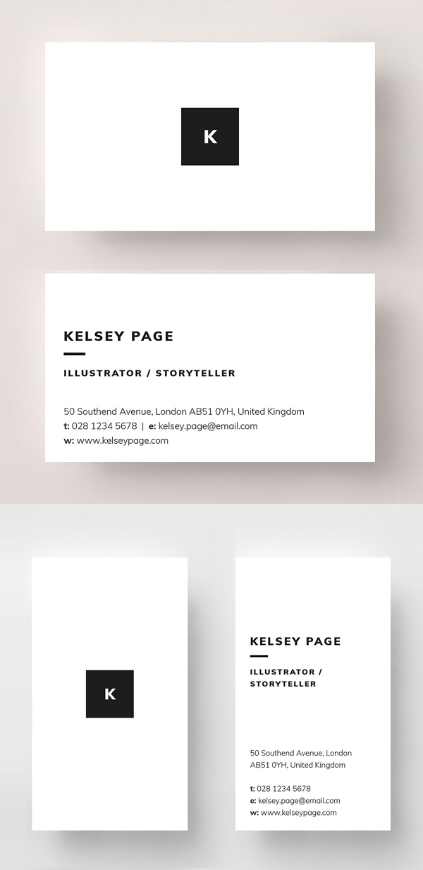 Black and White Minimal Business Card
