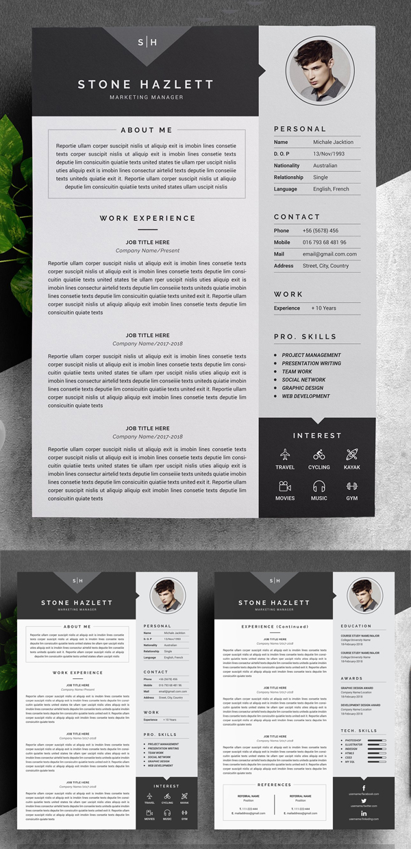Modern Resume Template (4 Pages)