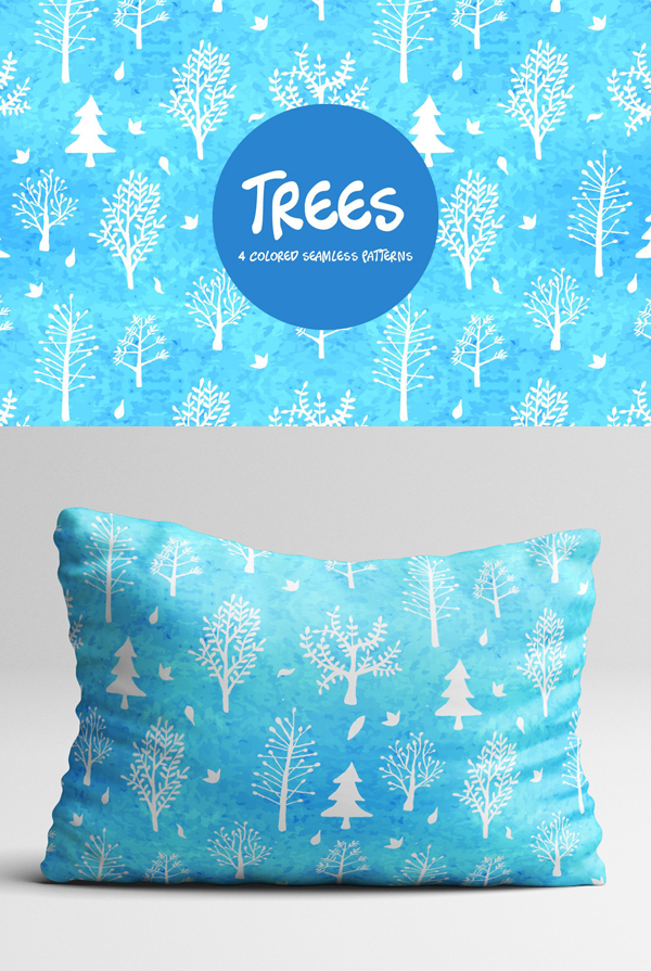 Free Watercolor Trees Vector Seamless Free Pattern