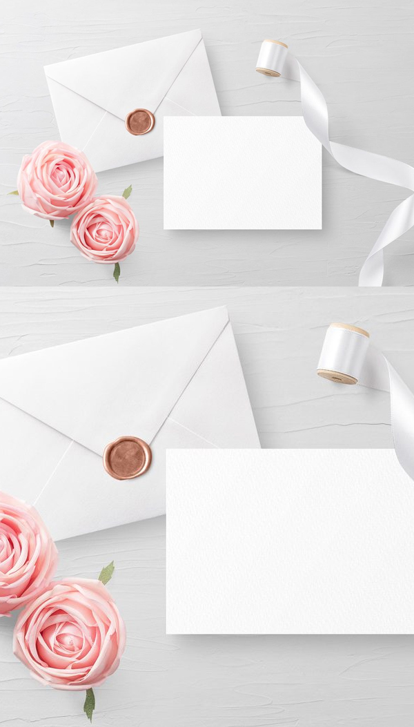 Invitation Card with Envelope Mockup