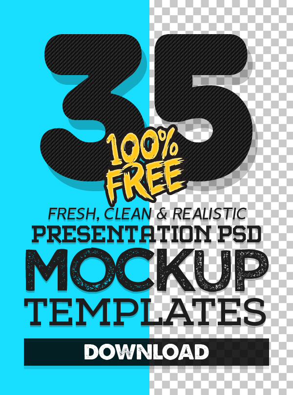 Fresh Free Photoshop PSD Mockup Templates (35 Mock-ups)