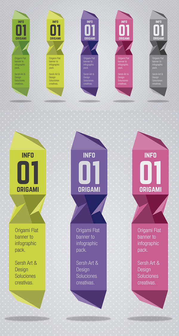 Free Origami Vector Banners