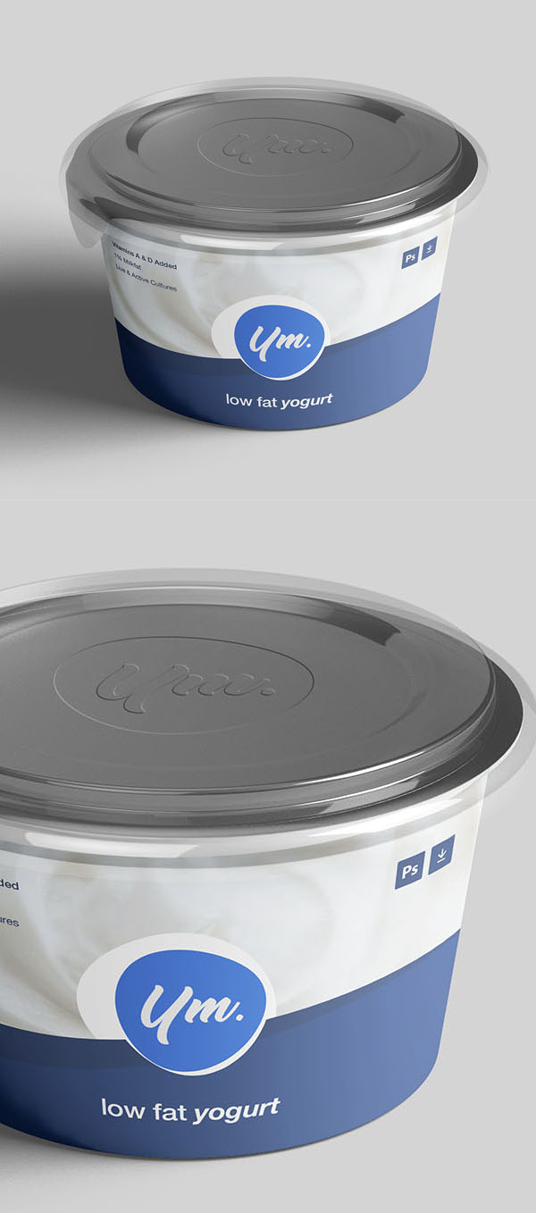 Free Yogurt Package Mockup PSD