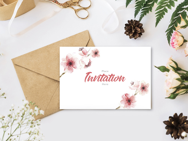 Free Stylish Branding With Flowers Invitation Mockup Psd