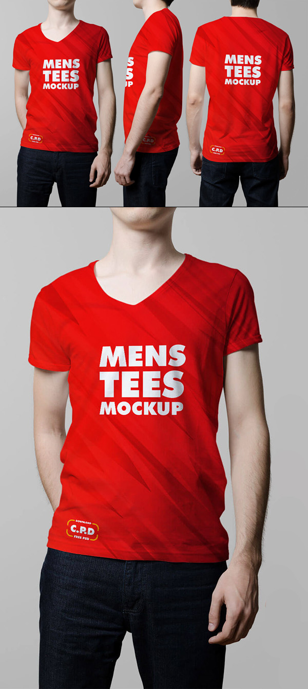 V-Neck Male T-Shirt Mockup Free Psd