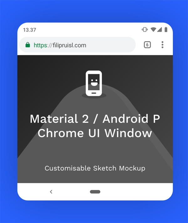 Chrome Material 2 Top + Bottom Sketch Mockup Free PSD