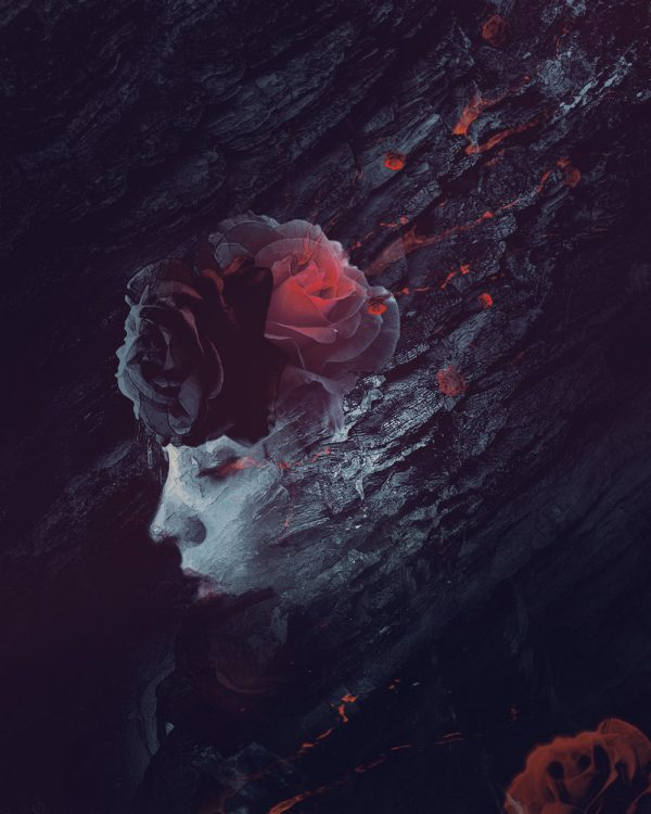 Create Portrait Photo Manipulation with Rose and Rock Pattern in Photoshop