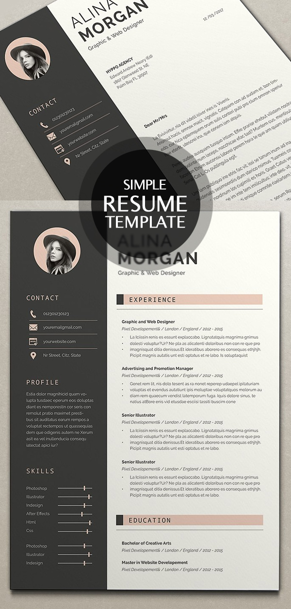 Simple Resume Template with Cover Letter(Indesign & Word)