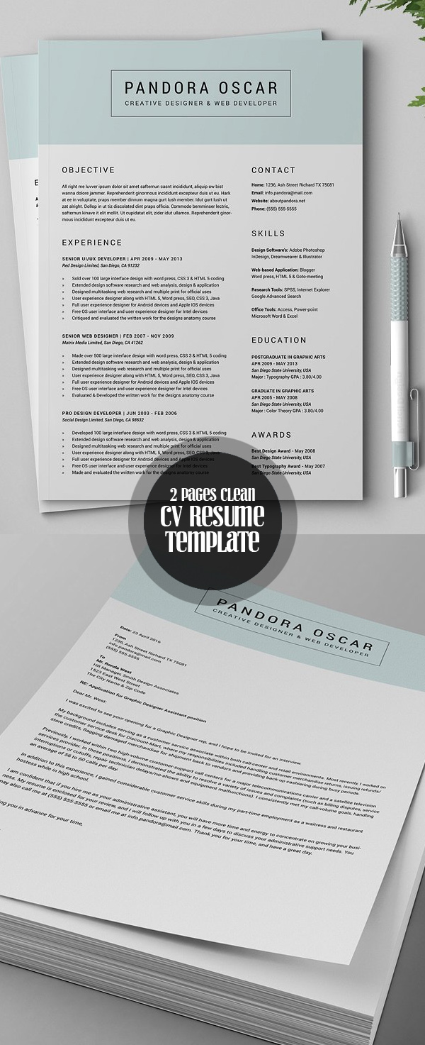 Clean 2 Pages Resume CV Template