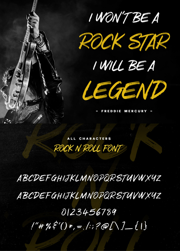 Rock n Roll Textured Brush Font Letters