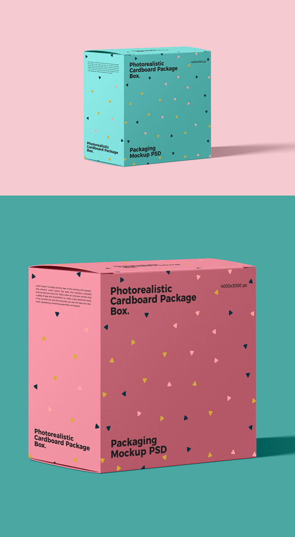 Free Cardboard Package Box Mockup PSD