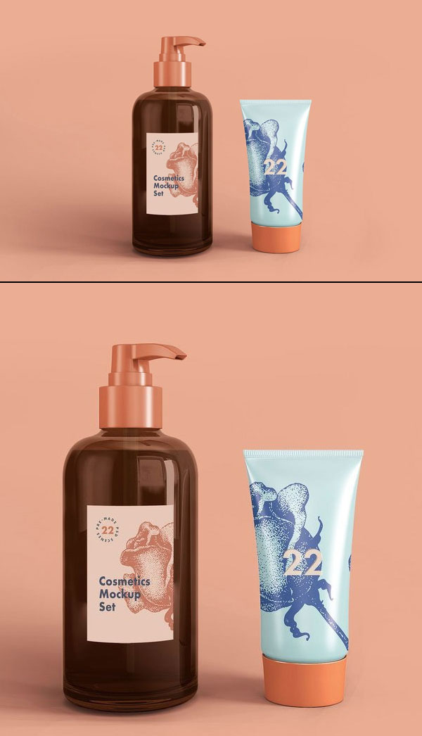 Free Soap Dispenser & Cream Tube Cosmetic Mockup