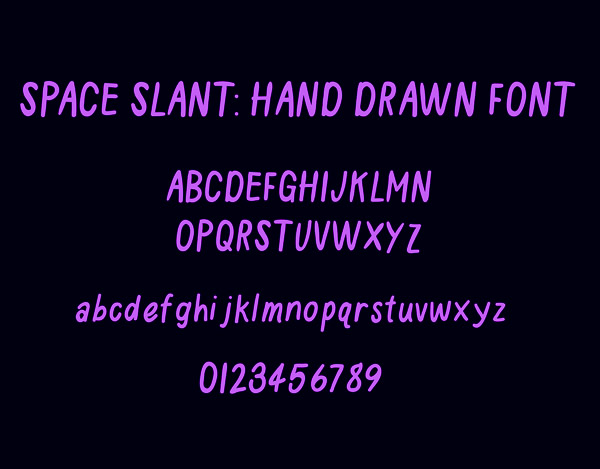 Space Slant Hand Drawn Font and Letters