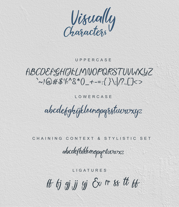 Visually Script Font Letters