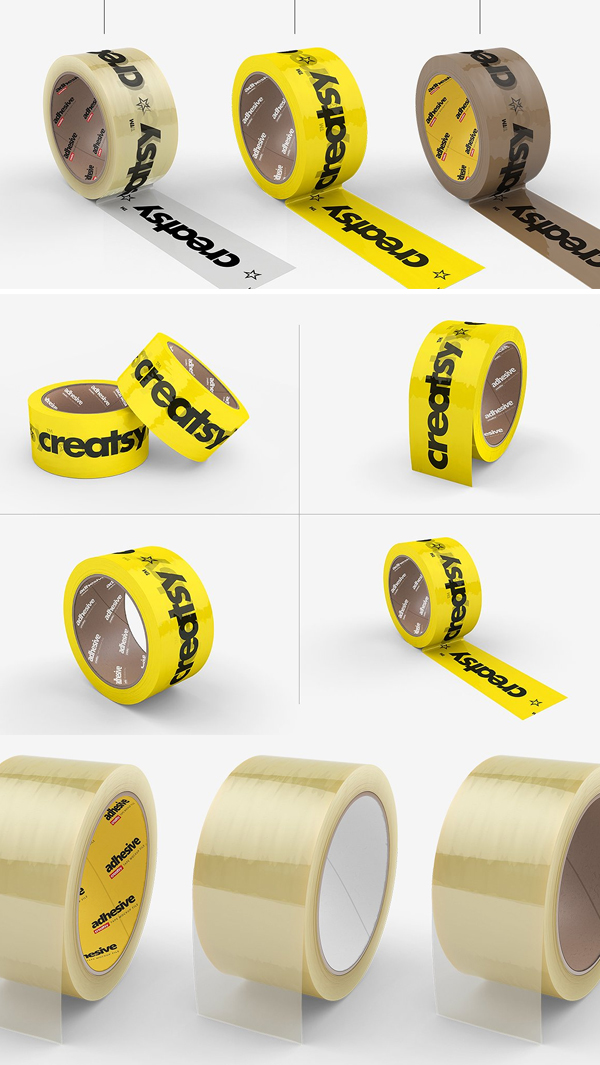 Packing Tape Many Types Mockup Set