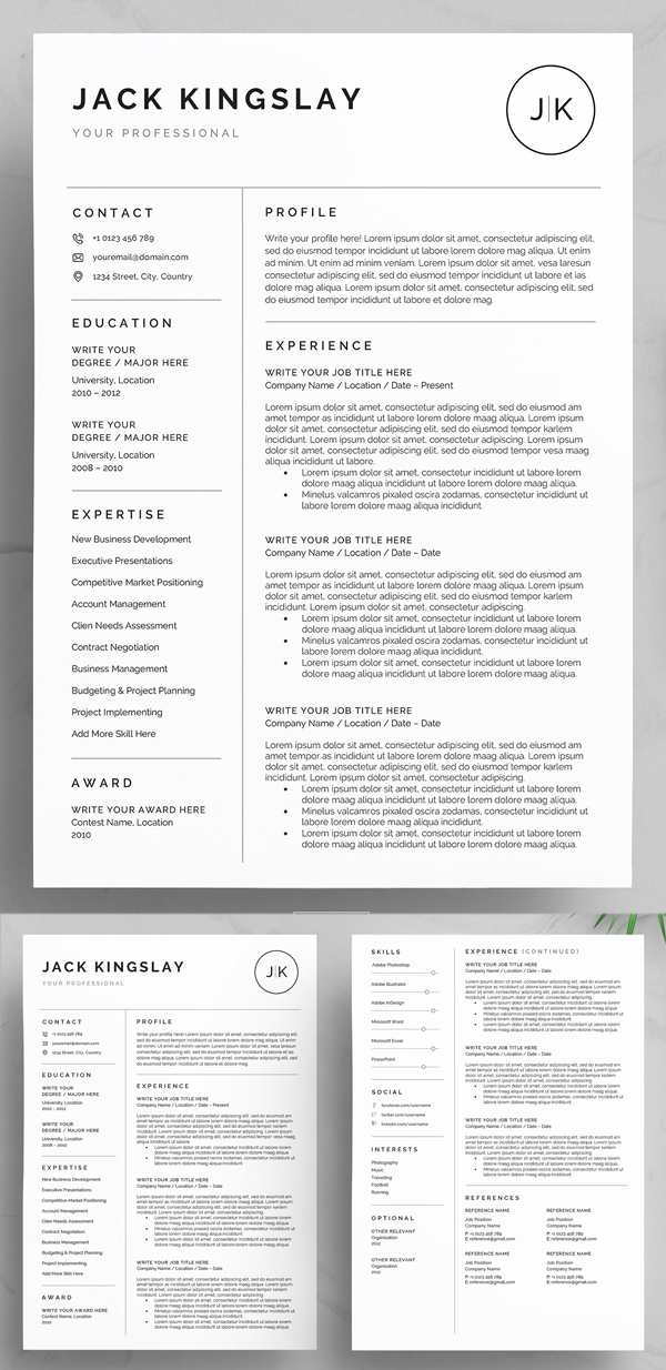 Clean & Professional Resume / CV